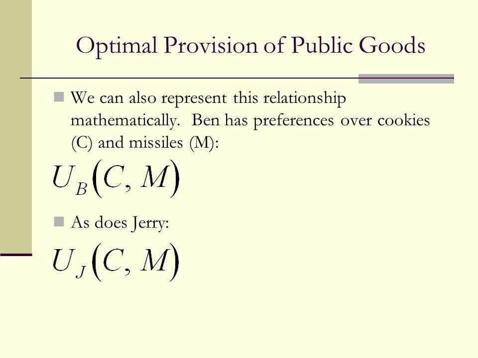 Optimal Provision of Public Goods We can also represent this relationship mathematically. Ben has preferences over cookies (C) and missiles (M): As do