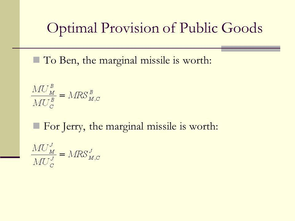 Optimal Provision of Public Goods To Ben, the marginal missile is worth: For Jerry, the marginal missile is worth: