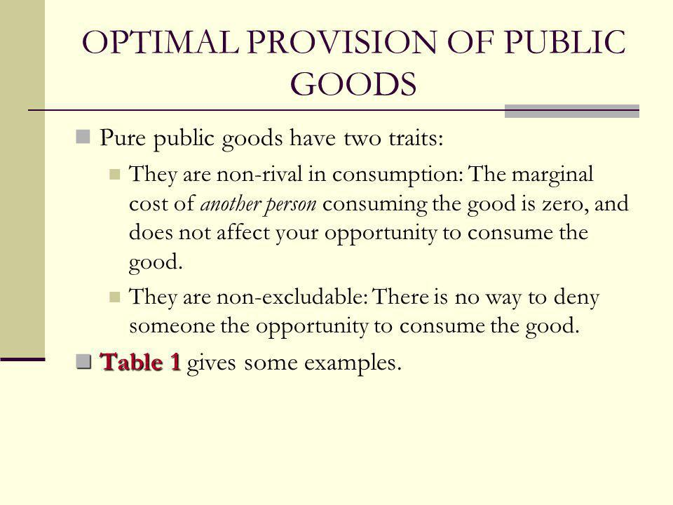 Optimal Provision of Public Goods Now consider the tradeoff between a public good, like missiles, and a private good like cookies.