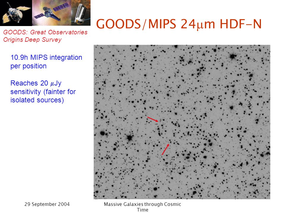 GOODS: Great Observatories Origins Deep Survey 29 September 2004Massive Galaxies through Cosmic Time GOODS/MIPS 24 m HDF-N 10.9h MIPS integration per position Reaches 20 Jy sensitivity (fainter for isolated sources)