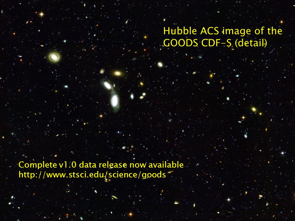 GOODS: Great Observatories Origins Deep Survey 29 September 2004Massive Galaxies through Cosmic Time 1st epoch Spitzer GOODS CDF-S IRAC images First epoch CDF-S IRAC data observed in February 2004: 23.2 hours/position x 4 pointings ~60% of field covered in each IRAC channel ~20% of field has 4-channel overlap, including the HUDF Second epoch in August completed CDF-S IRAC observations 5 point source sensitivity (shot noise only): 4.5, 8.0 m 3.6, 5.8 m 10 16.5 Channe l JyAB mag 3.6 m0.1 1 26.27 4.5 m0.2 1 25.57 5.8 m1.3 5 23.58 8.0 m1.6 6 23.35
