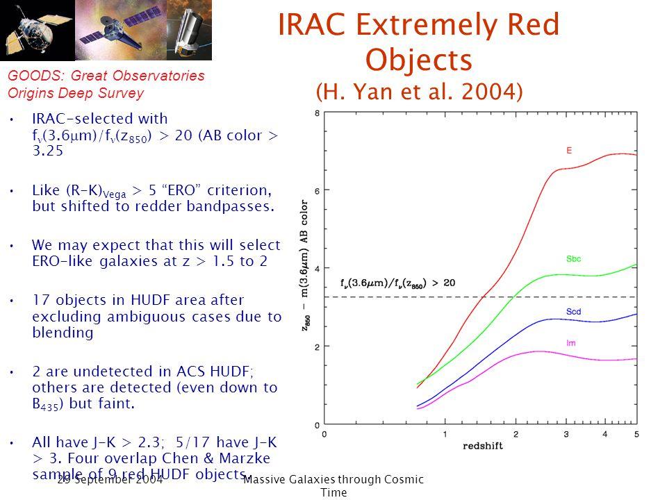 GOODS: Great Observatories Origins Deep Survey 29 September 2004Massive Galaxies through Cosmic Time IERO example HST/ACS HST/NICMOS Spitzer/IRAC VLT/ISAAC
