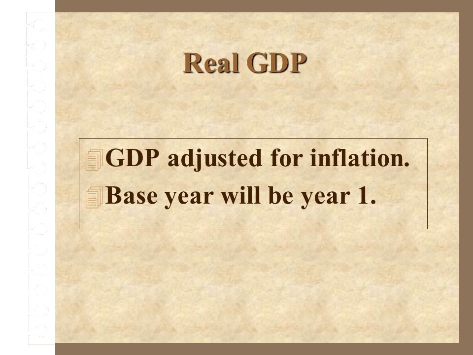 Real GDP GDP adjusted for inflation. Base year will be year 1.
