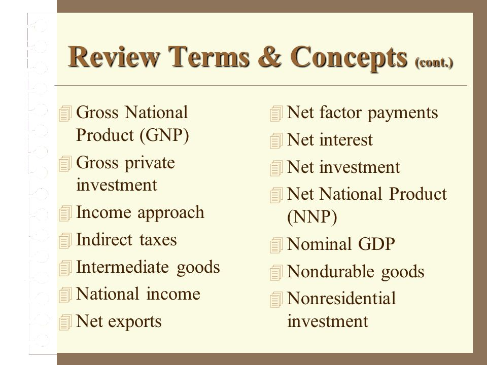 Review Terms & Concepts (cont.) Gross National Product (GNP) Gross private investment Income approach Indirect taxes Intermediate goods National incom
