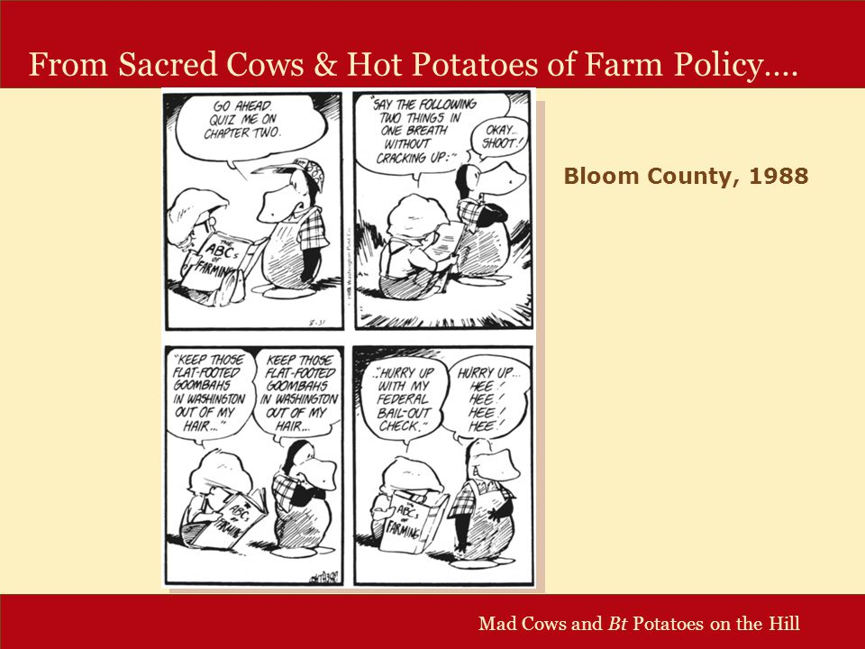 Mad Cows and Bt Potatoes on the Hill Concentration in Supply of New Technology Ownership of Ag Biotech Patents Source: Graff et al, 2003 Small Firms 33% 5 Top Multi- national Firms 41% Other 2% Public Sector 24%