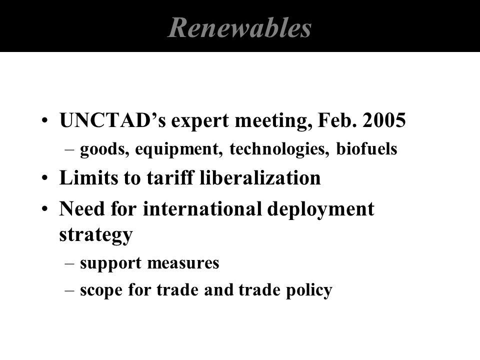 Renewables UNCTADs expert meeting, Feb. 2005 –goods, equipment, technologies, biofuels Limits to tariff liberalization Need for international deployme
