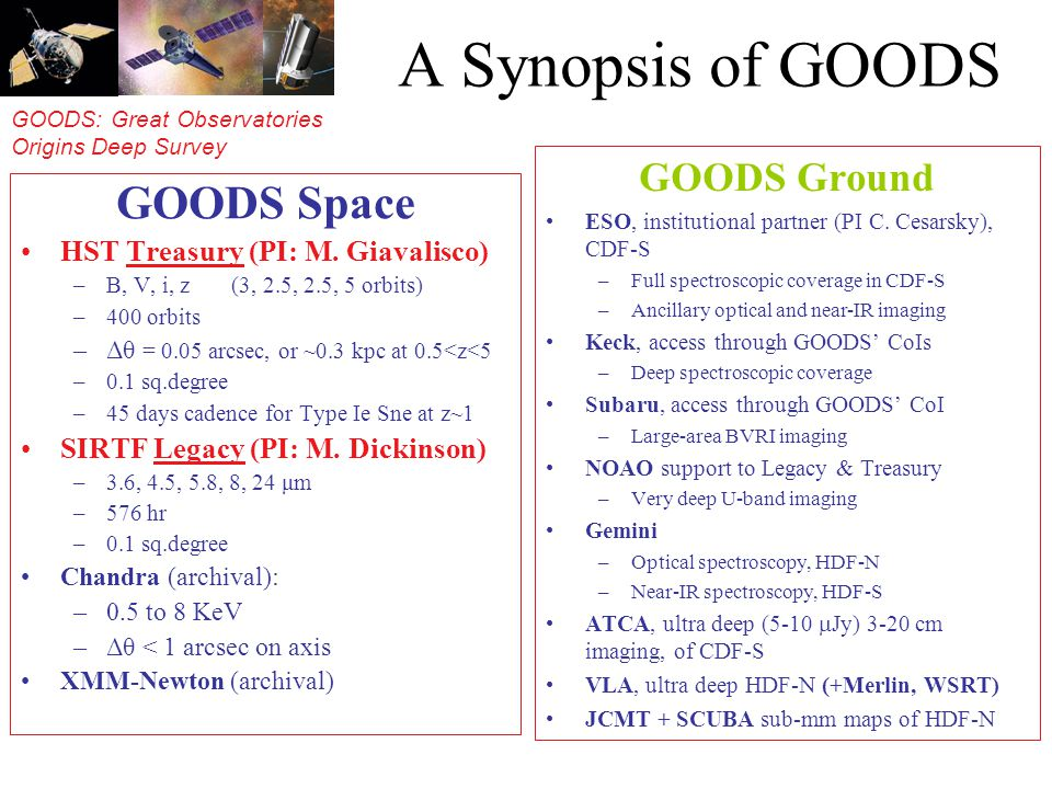 GOODS: Great Observatories Origins Deep Survey A Synopsis of GOODS GOODS Space HST Treasury (PI: M. Giavalisco) –B, V, i, z (3, 2.5, 2.5, 5 orbits) –4