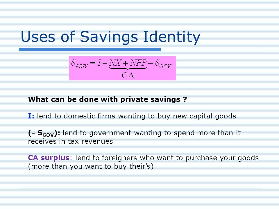 Uses of Savings Identity What can be done with private savings .