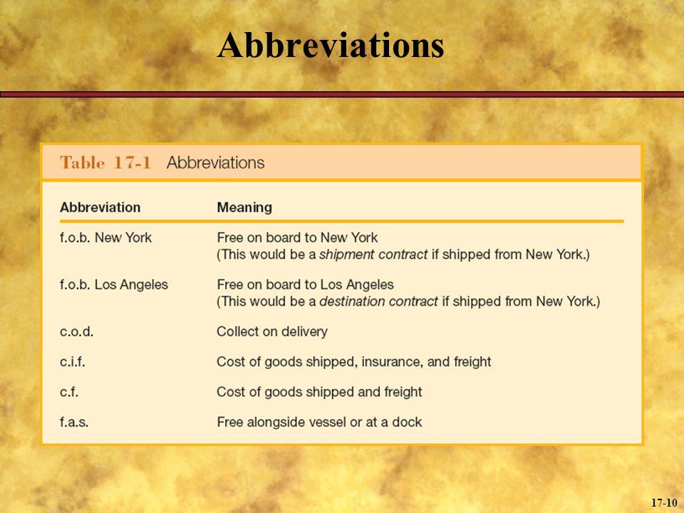 17-10 Abbreviations