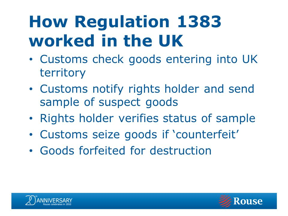 Customs check goods entering into UK territory Customs notify rights holder and send sample of suspect goods Rights holder verifies status of sample Customs seize goods if counterfeit Goods forfeited for destruction How Regulation 1383 worked in the UK