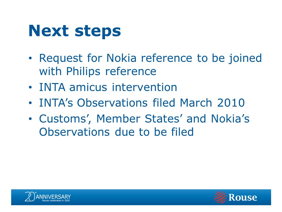 Request for Nokia reference to be joined with Philips reference INTA amicus intervention INTAs Observations filed March 2010 Customs, Member States an