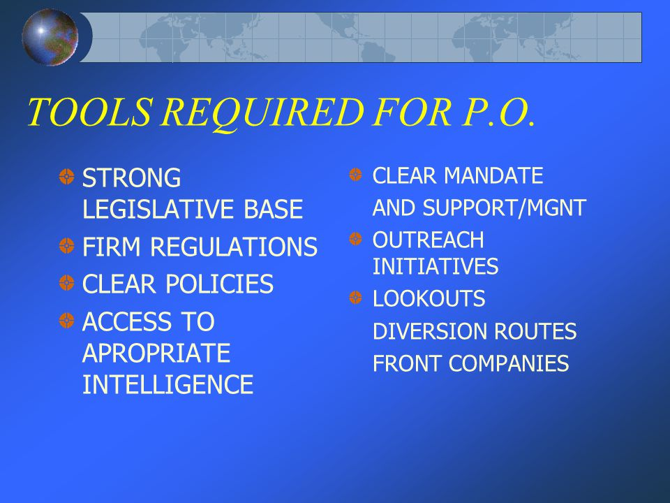 TOOLS REQUIRED FOR P.O.