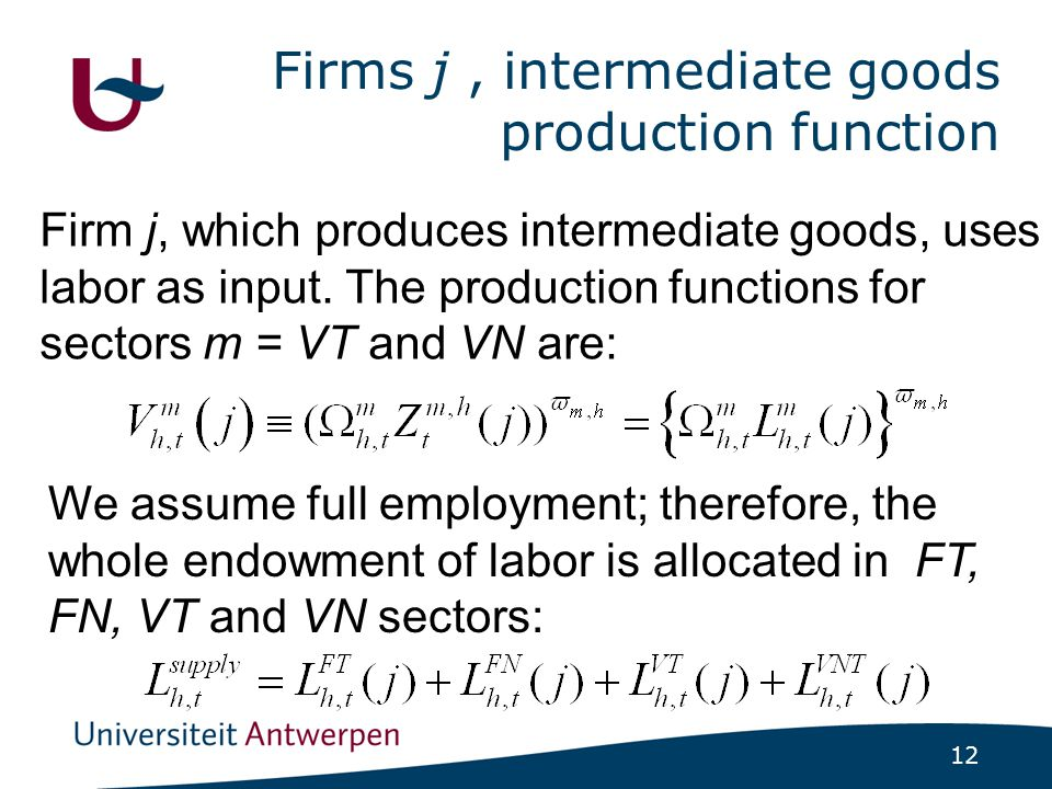 12 Firms j, intermediate goods production function Firm j, which produces intermediate goods, uses labor as input. The production functions for sector