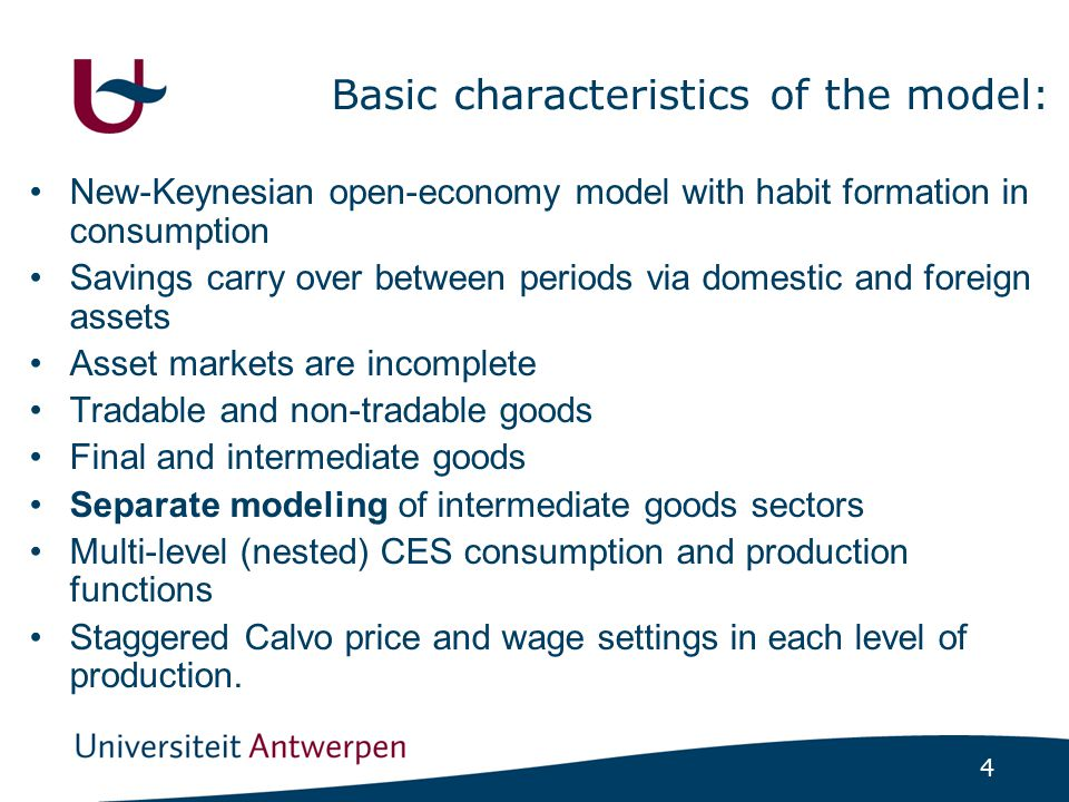 4 Basic characteristics of the model: New-Keynesian open-economy model with habit formation in consumption Savings carry over between periods via dome