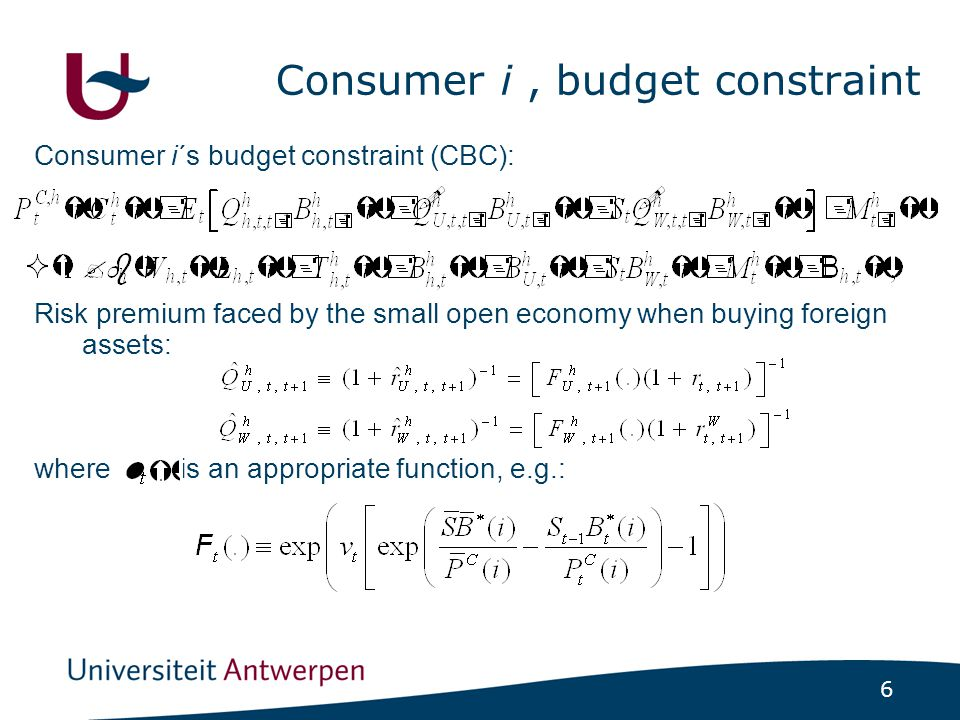 6 Consumer i, budget constraint Consumer i´s budget constraint (CBC): Risk premium faced by the small open economy when buying foreign assets: where i