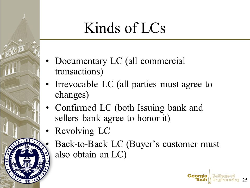 25 Kinds of LCs Documentary LC (all commercial transactions) Irrevocable LC (all parties must agree to changes) Confirmed LC (both Issuing bank and sellers bank agree to honor it) Revolving LC Back-to-Back LC (Buyers customer must also obtain an LC)