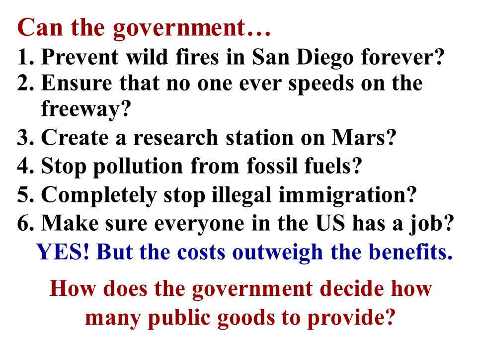 How does the government determine what quantity of public goods to produce.