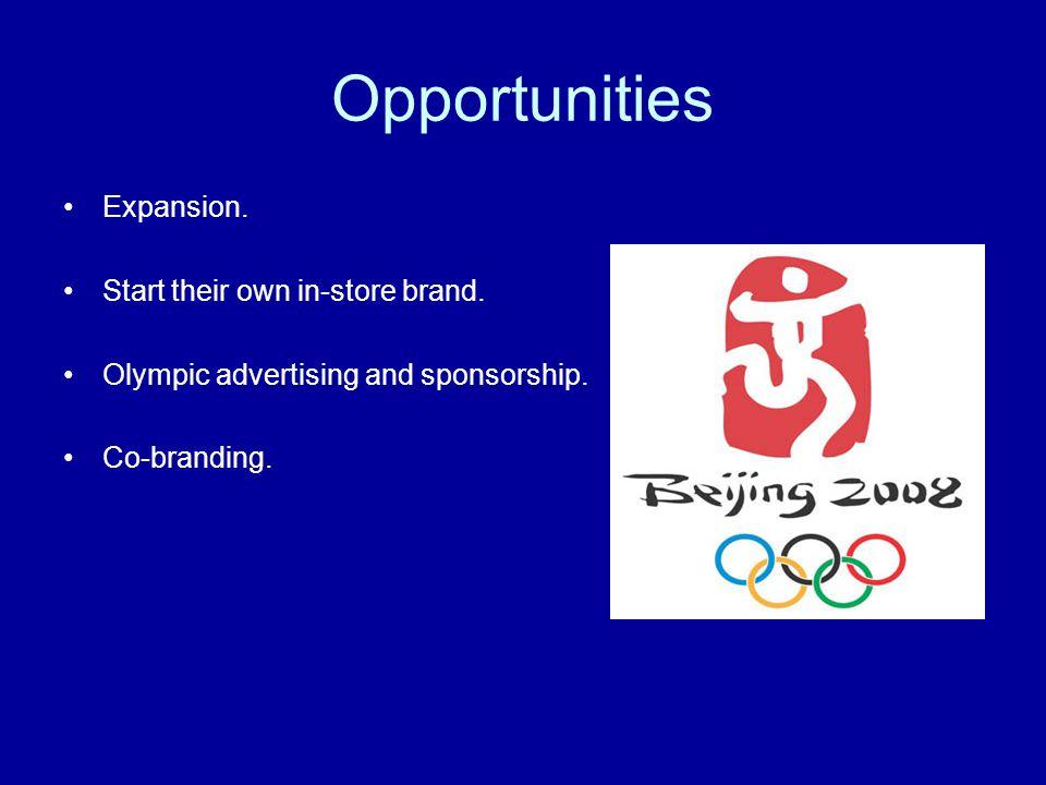 Threats Competition; Big 5, Cabelas, Sportsmans Warehouse, Joes, Gart Sports, Sports Authority, etc…