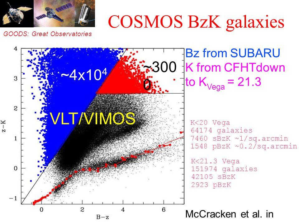 GOODS: Great Observatories Origins Deep Survey COSMOS BzK galaxies Bz from SUBARU K from CFHTdown to K Vega = 21.3 McCracken et al. in prep. ~4x10 4 ~