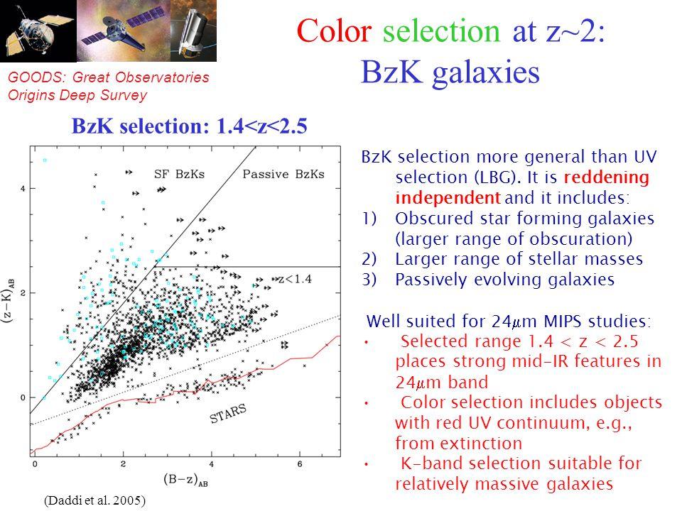 GOODS: Great Observatories Origins Deep Survey Color selection at z~2: BzK galaxies BzK selection more general than UV selection (LBG).