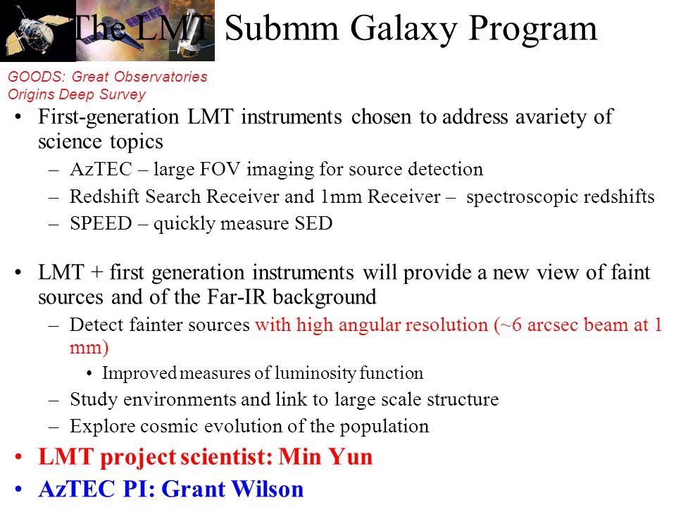 GOODS: Great Observatories Origins Deep Survey The LMT Submm Galaxy Program First-generation LMT instruments chosen to address avariety of science top