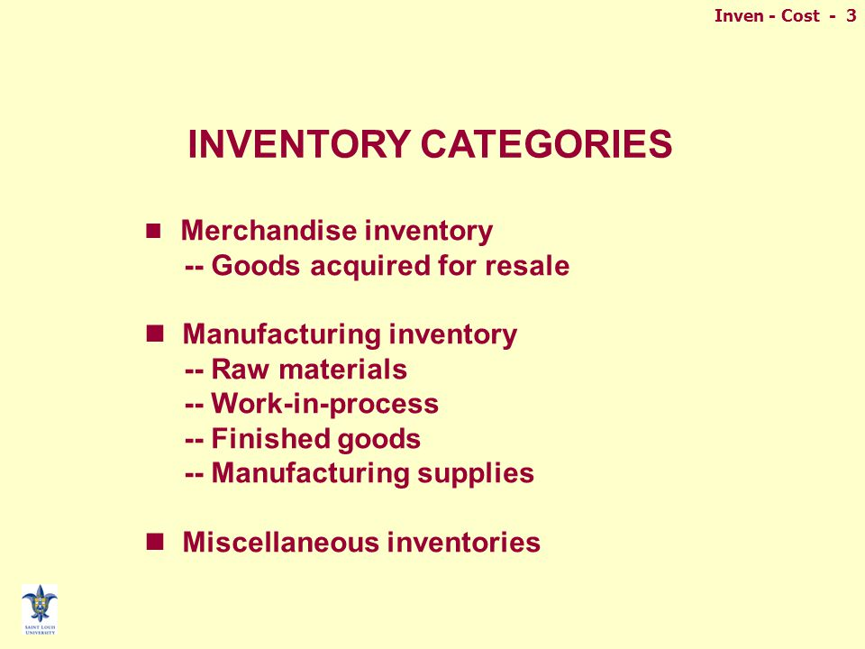 Inven - Cost - 3 INVENTORY CATEGORIES Merchandise inventory -- Goods acquired for resale Manufacturing inventory -- Raw materials -- Work-in-process -- Finished goods -- Manufacturing supplies Miscellaneous inventories