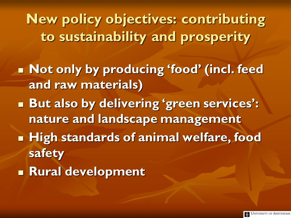 Nine Dimensions of Agriculture Production, employment, land use Production, employment, land use Food security Food security Food safety, human and animal health Food safety, human and animal health Animal welfare Animal welfare Biodiversity and nature conservation Biodiversity and nature conservation Landscape and non agricultural land use Landscape and non agricultural land use Environment and climate management Environment and climate management Water management (blue services) Water management (blue services) Rural development Rural development