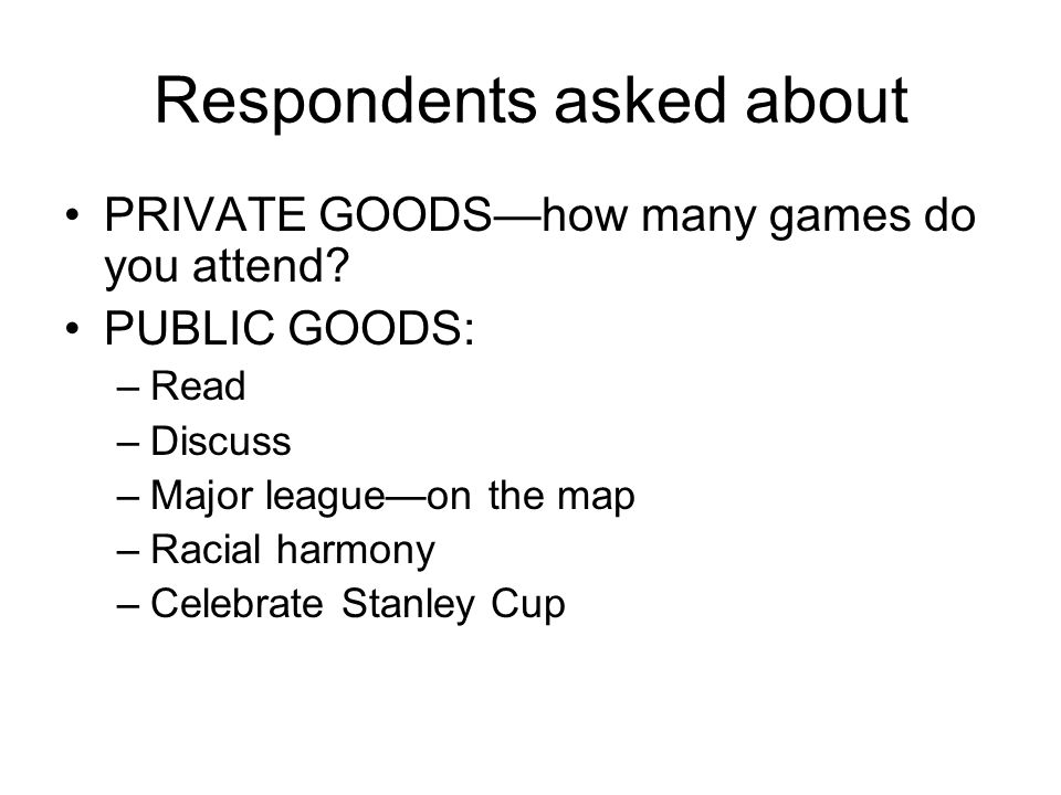 Respondents asked about PRIVATE GOODShow many games do you attend.