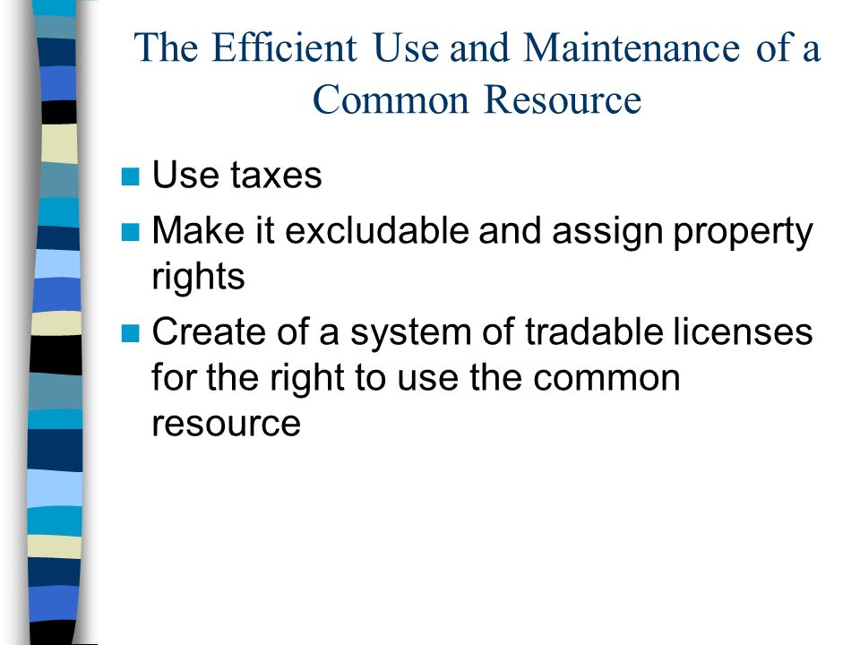 The Efficient Use and Maintenance of a Common Resource Use taxes Make it excludable and assign property rights Create of a system of tradable licenses