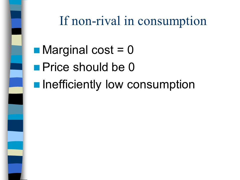 If non-rival in consumption Marginal cost = 0 Price should be 0 Inefficiently low consumption
