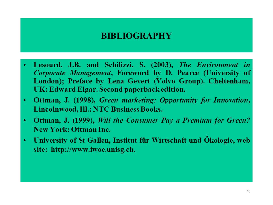 2 BIBLIOGRAPHY Lesourd, J.B. and Schilizzi, S.