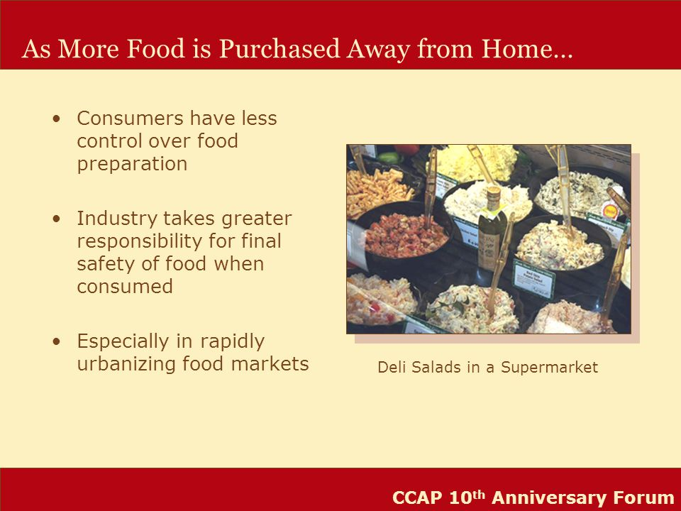 CCAP 10 th Anniversary Forum As More Food is Purchased Away from Home… Consumers have less control over food preparation Industry takes greater responsibility for final safety of food when consumed Especially in rapidly urbanizing food markets Deli Salads in a Supermarket