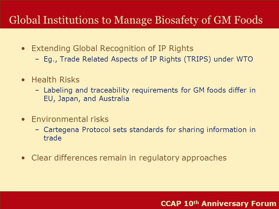 CCAP 10 th Anniversary Forum Global Institutions to Manage Biosafety of GM Foods Extending Global Recognition of IP Rights –Eg., Trade Related Aspects of IP Rights (TRIPS) under WTO Health Risks –Labeling and traceability requirements for GM foods differ in EU, Japan, and Australia Environmental risks –Cartegena Protocol sets standards for sharing information in trade Clear differences remain in regulatory approaches