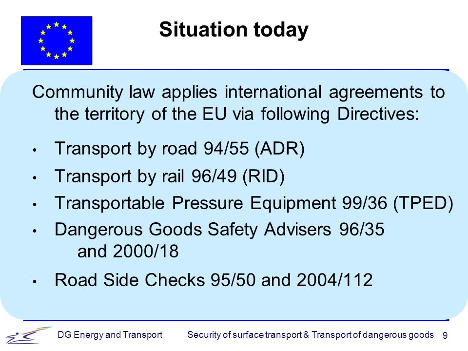 Security of surface transport & Transport of dangerous goodsDG Energy and Transport 10 Thank you for your attention http://ec.europa.eu/dgs/energy_transport/security/ goods/index_en.htm