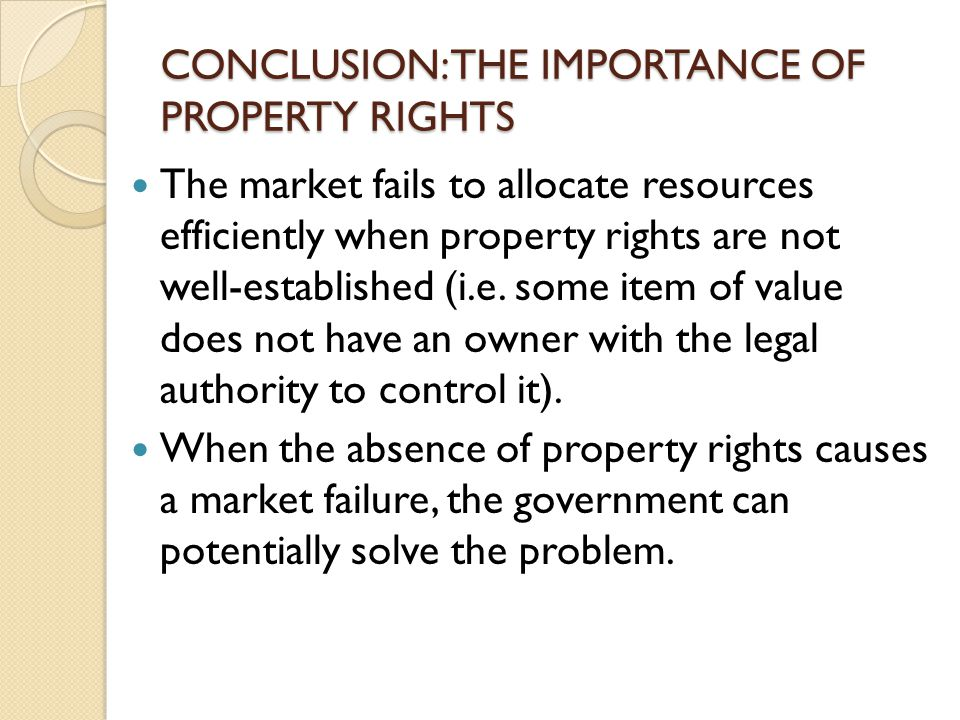 CONCLUSION: THE IMPORTANCE OF PROPERTY RIGHTS The market fails to allocate resources efficiently when property rights are not well-established (i.e. s