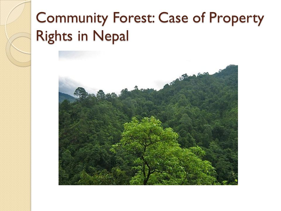 Community Forest: Case of Property Rights in Nepal