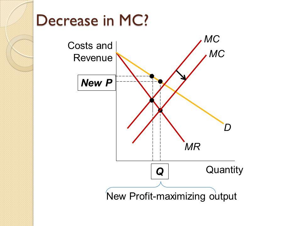 Decrease in MC Quantity Costs and Revenue MR D MC New Profit-maximizing output New P Q MC