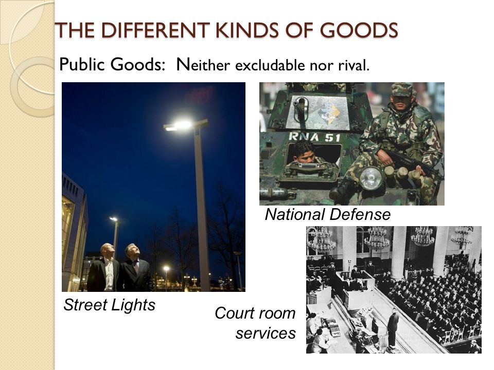 THE DIFFERENT KINDS OF GOODS Public Goods: N Public Goods: N either excludable nor rival. Street Lights National Defense Court room services