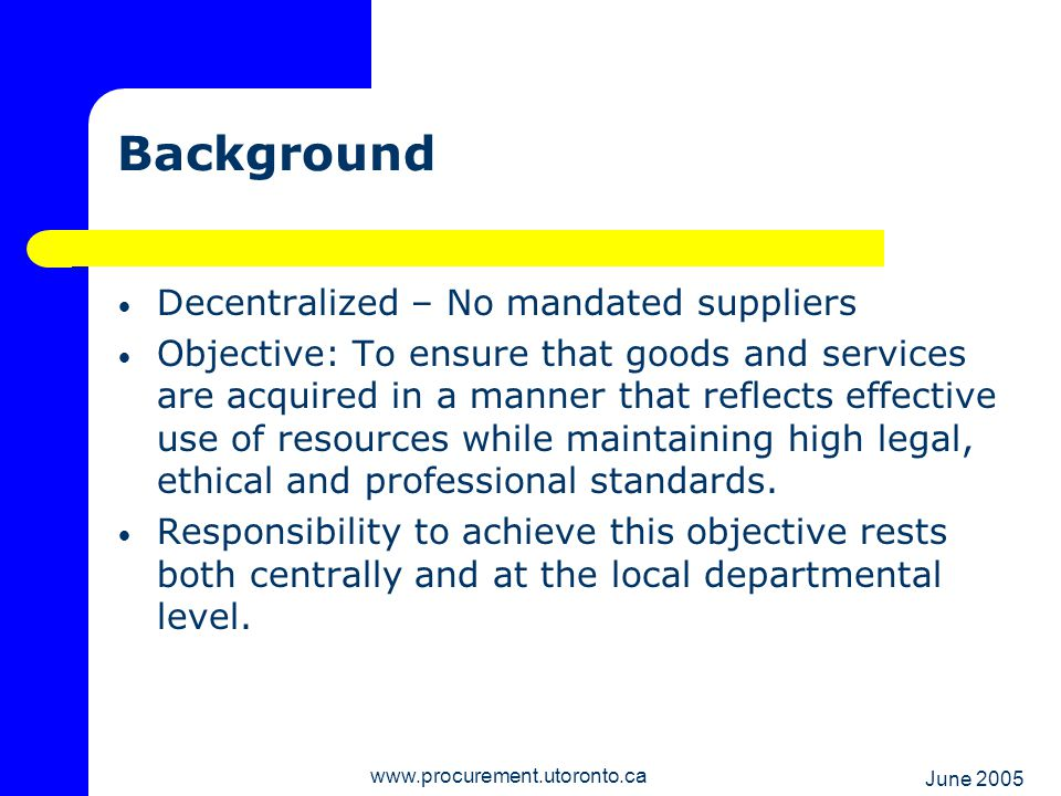 June 2005 www.procurement.utoronto.ca Purchasing Card Benefits Low administrative burden Convenient Reduced requirement for petty cash Charges recorded in FIS next day Transaction detail capture