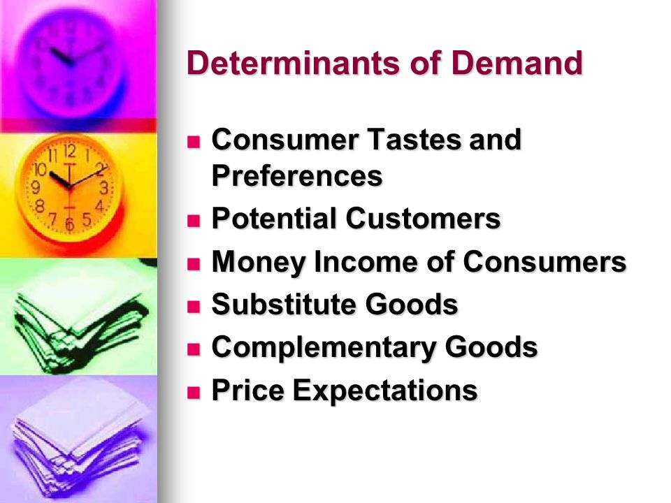 Determinants of Demand Consumer Tastes and Preferences Consumer Tastes and Preferences Potential Customers Potential Customers Money Income of Consumers Money Income of Consumers Substitute Goods Substitute Goods Complementary Goods Complementary Goods Price Expectations Price Expectations