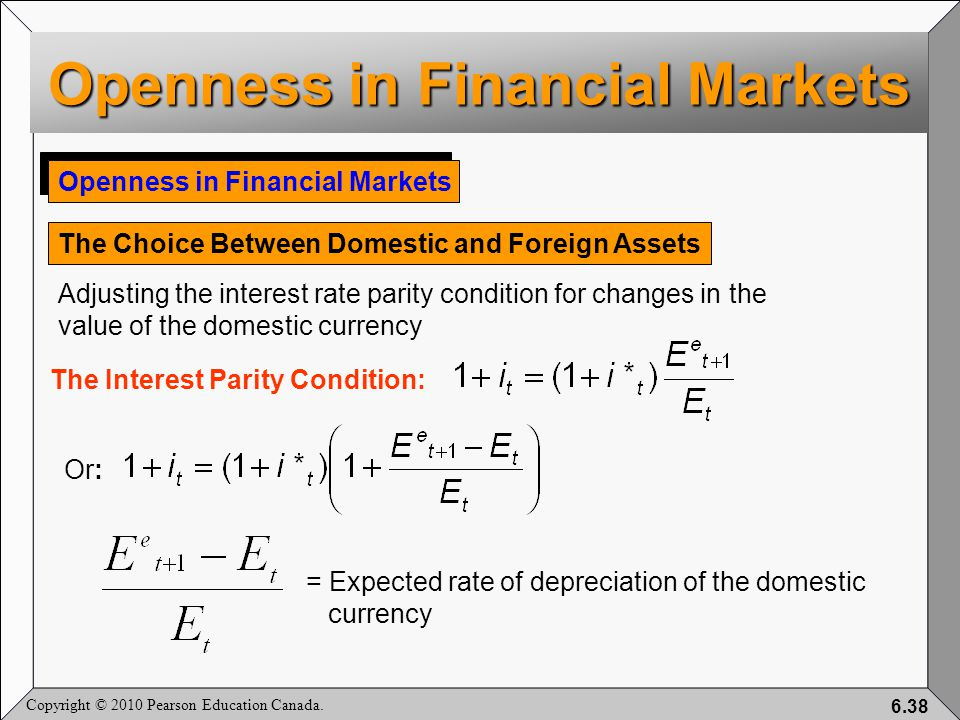 Copyright © 2010 Pearson Education Canada. 6.38 Openness in Financial Markets The Choice Between Domestic and Foreign Assets Adjusting the interest ra
