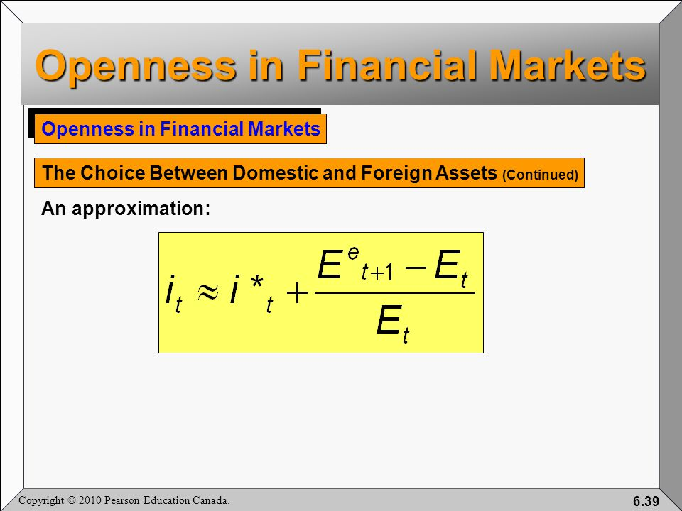 Copyright © 2010 Pearson Education Canada. 6.39 Openness in Financial Markets The Choice Between Domestic and Foreign Assets (Continued) An approximat