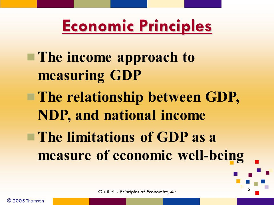 © 2005 Thomson 3 Gottheil - Principles of Economics, 4e Economic Principles The income approach to measuring GDP The relationship between GDP, NDP, and national income The limitations of GDP as a measure of economic well-being