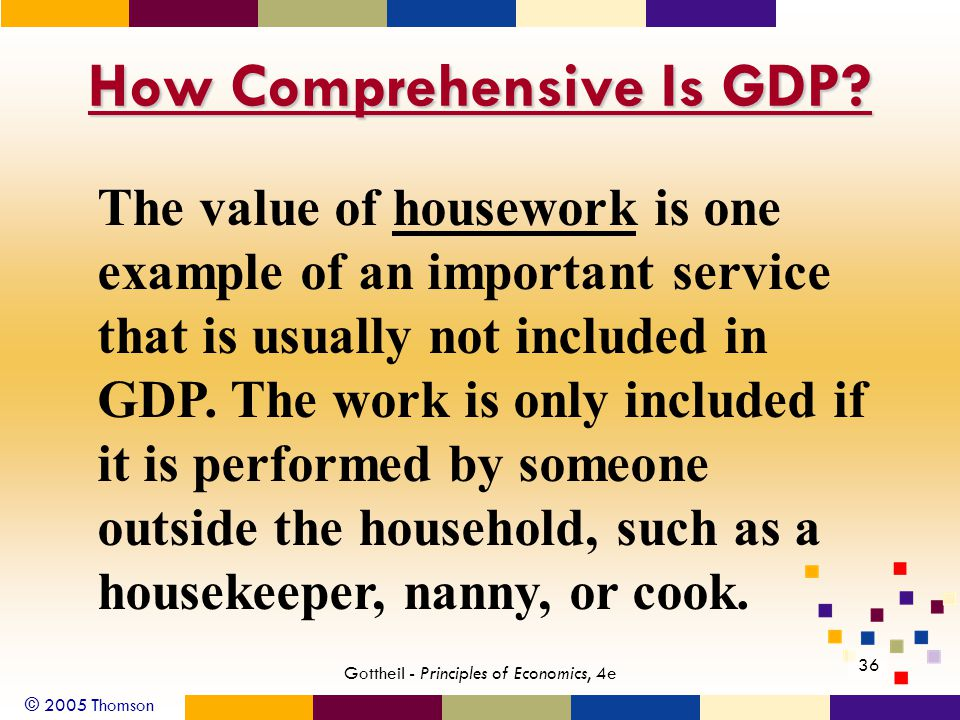 © 2005 Thomson 36 Gottheil - Principles of Economics, 4e How Comprehensive Is GDP.