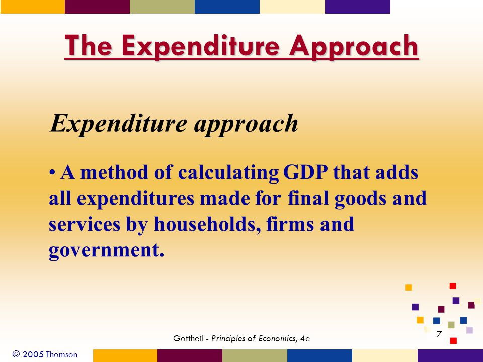 © 2005 Thomson 7 Gottheil - Principles of Economics, 4e The Expenditure Approach Expenditure approach A method of calculating GDP that adds all expenditures made for final goods and services by households, firms and government.