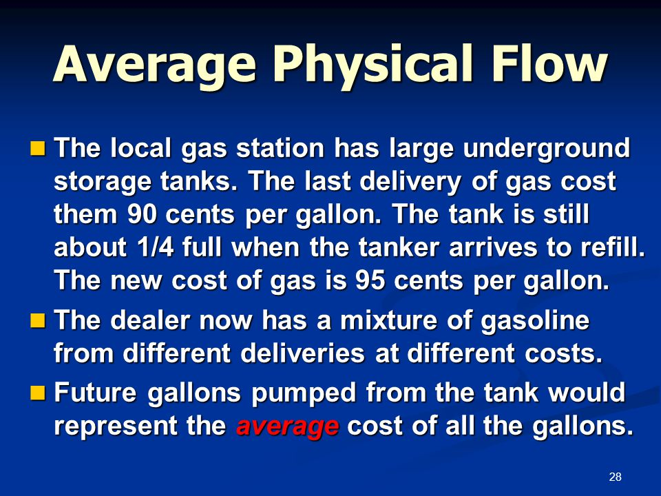28 Average Physical Flow The local gas station has large underground storage tanks. The last delivery of gas cost them 90 cents per gallon. The tank i