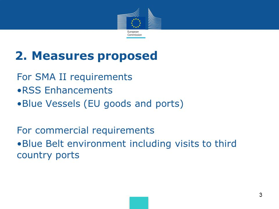 2. Measures proposed For SMA II requirements RSS Enhancements Blue Vessels (EU goods and ports) For commercial requirements Blue Belt environment incl