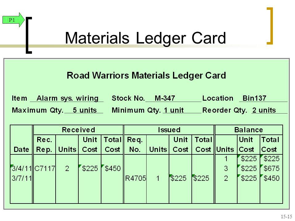 Materials Ledger Card P1 15-15