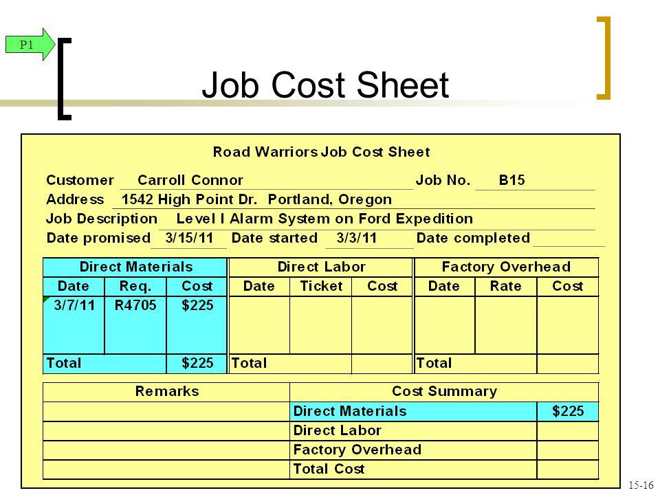 Job Cost Sheet P1 15-16