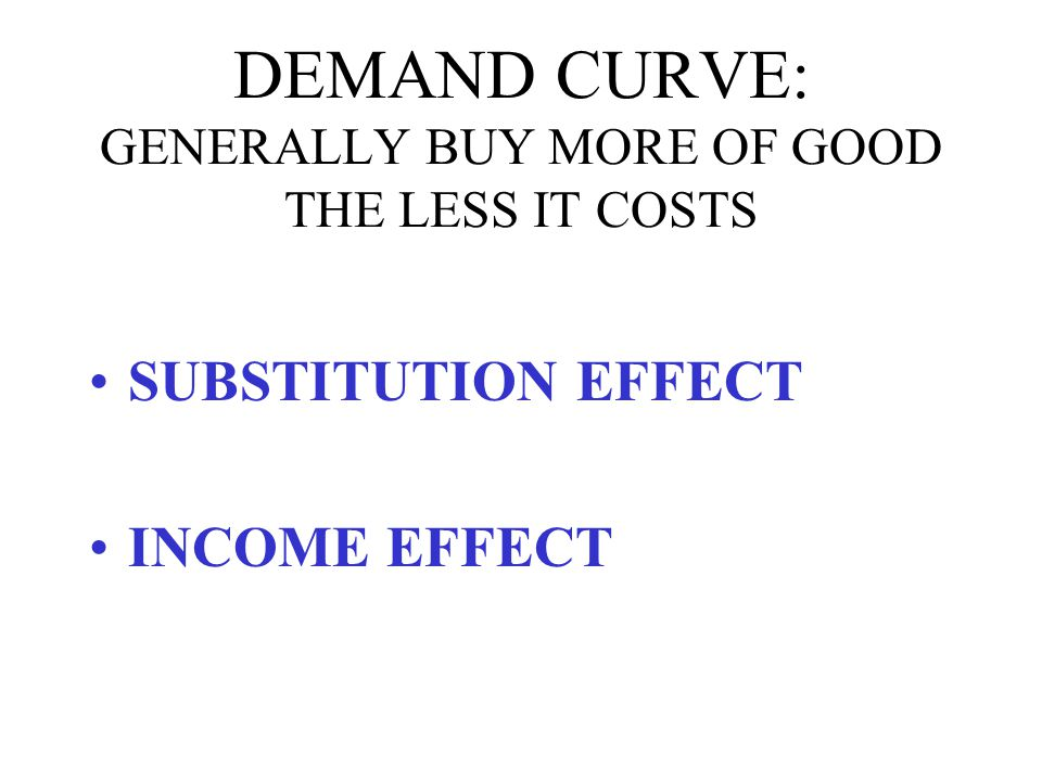 DEMAND CURVE: GENERALLY BUY MORE OF GOOD THE LESS IT COSTS SUBSTITUTION EFFECT: AS GOOD BECOMES CHEAPER, BUY IT INSTEAD OF ALTERNATIVES INCOME EFFECT